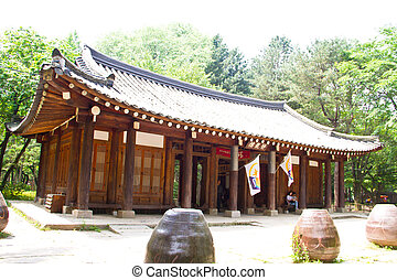 NAMISEOM - JUNE 11: Traditional Korean cottages on Nami...