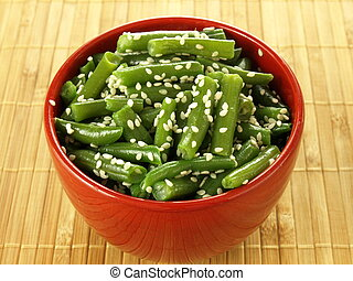 French beans with sesame - Bowl of boiled french beans with...