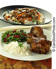 Asian cuisine - Chicken, rice and chinese vegetable salad,...