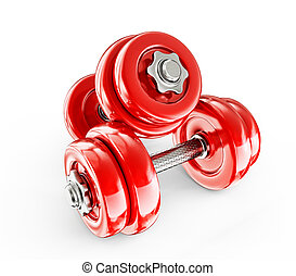 red dumbbells - Big red dumbbells isolated on a white...