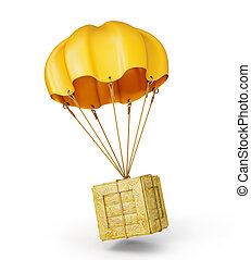 parachute - yellow parachute with wooden box on a white