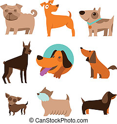 Vector set of funny cartoon dogs - illustration in flat...