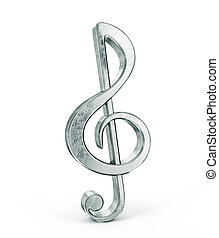 treble clef - Silver treble clef isolated on a white...