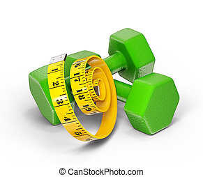 dumbell - green dumbell isolated with a centimeter on  white