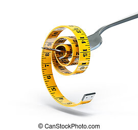 centimeter on a fork isolated white background