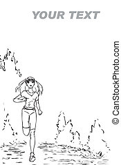 Running - The monochrome sketch with the girl who runs in...