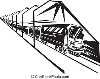 Train on station. Vector illustration.