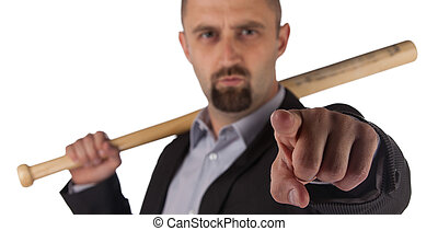 Angry looking man with bat, isolated on a white background