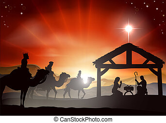 Christmas Nativity Scene - Christmas nativity scene with...