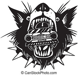 Car in jaws wolf. Vector illustration.
