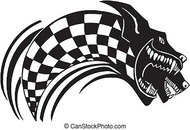 Checkered flag and wolf. Vector illustration. - Checkered...