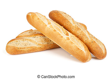 Various of french baguette Isolated on white background