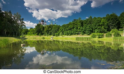 Lake in the park - St Panteleimon orthodox church in...