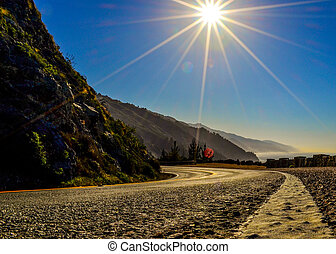 Pacific Coast Highway - low angle of the Pacific Coast...