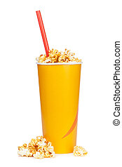 Popcorn in fast food drink cup