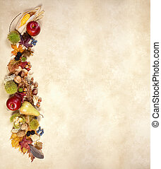 Autumn deco border - Vertical composite of autumn fruits...