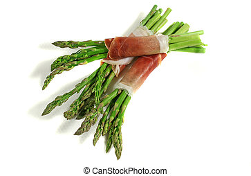 Asparagus And Prosciutto 1 - Fresh asparagus bunches wrapped...