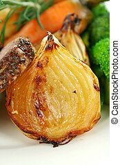 Baked Onion - Delicious caramelized sliced baked onion ready...