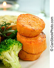 Sweet Potato Stack - Baked sweet potato stack with broccoli...