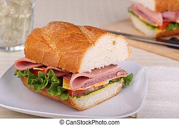 Cold Cut Sandwich Closeup