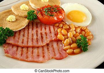 Breakfast 9 - Breakfast of grilled bacon, tomato, egg, baked...