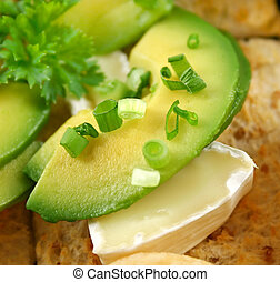 Avocado And Camembert - Avocado and camembert cheese with...