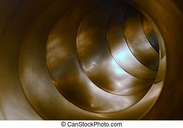 Inside Of A Metal Tube - Conceptual Image Of The Inside Of A...