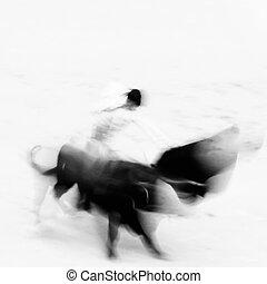 Bullfigting in bullring Las Ventas, Madrid, Spain. Abstract...