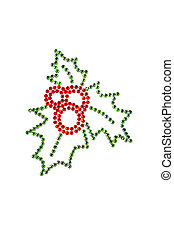 Red green holly made of rhinestones