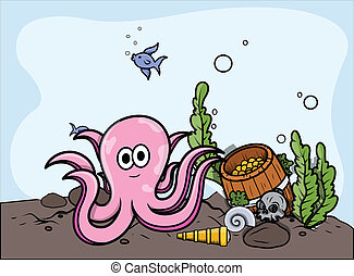 Octopus with Sunken Treasure Vector - Drawing Art of Cartoon...
