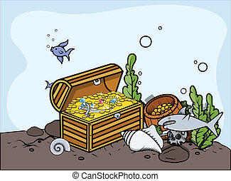 Sunken Treasure - Vector Elements - Drawing Art of Cartoon...