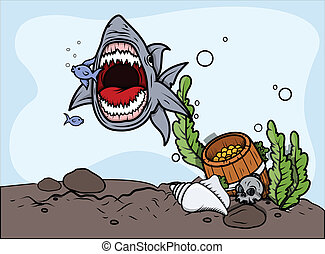 Shark Catching Fish - Vector - Drawing Art of Cartoon Angry...