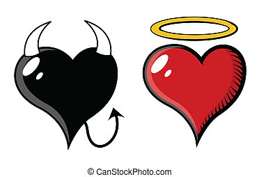 Good and Evil Heart - Vector - Drawing Art of Cartoon Retro...
