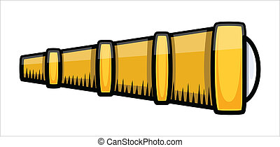 Old Ship Telescope - Vector - Drawing Art of Cartoon Retro...