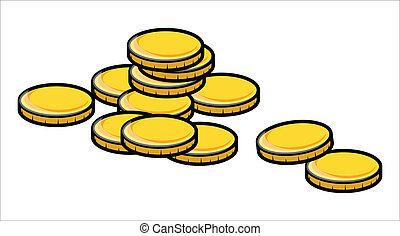 Golden Coins - Vector Illustration - Drawing Art of Cartoon...