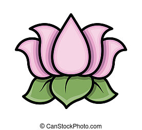 Lotus Flower Vector - Drawing Art of Cartoon Lotus Flower...