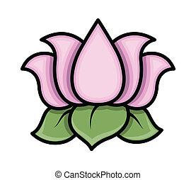 Lotus Flower Vector - Drawing Art of Cartoon Lotus Flower...