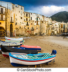 Cefalu, Sicily, Italy, Europe - Old, medieval Cefalu is a...