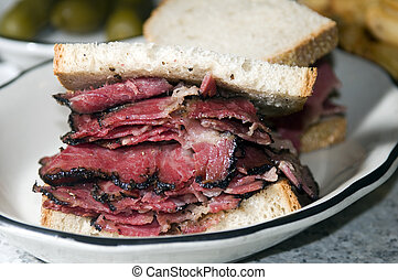 pastrami sandwich rye bread kosher jewish delicatessen new...