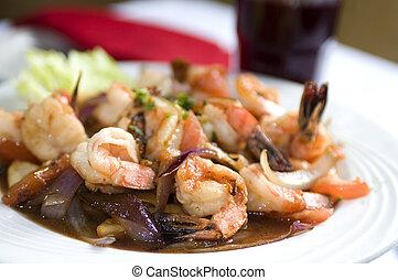 camaron saltado - camaron shrimp saltado Peruvian food with...