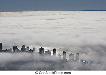 Bird view - Vancouver under blankiet of heavy fog