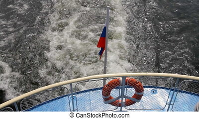 Passenger ship on river - Ship floats Flag of Russia Waves...