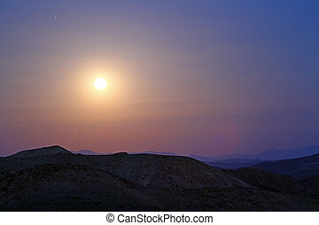 moonrise in Death Valley, close up