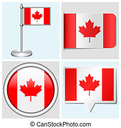 Canada flag - set of sticker, button, label and flagstaff