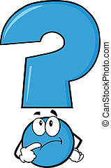 Blue Question Mark Thinking - Blue Question Mark Character...