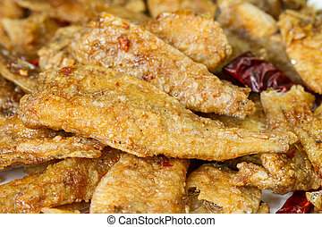 seasoning crispy fried fish, hot and spicy