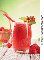 Fresh healthy drink - Fresh harvested strawberries mixed...