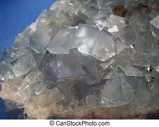 azul, México, fluorita, mina, Primer plano, Cristales,...