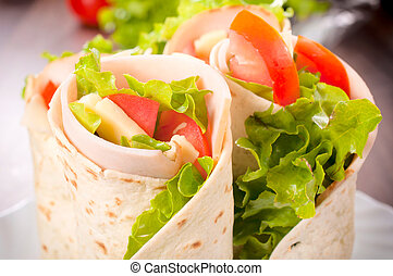 sandwich wrap - Tasty tortilla sandwich wrap with turkey and...