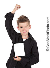 Boy holding tablet isolated on white - Successful boy with...